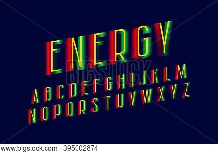 Energy Alphabet Of Red Green Yellow Letters. Vibrant Display Font. Isolated English Alphabet.