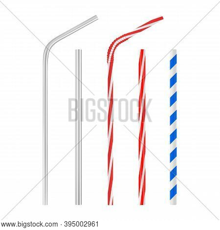 Realistic Plastic And Metal Drinking Straw Set. Straight And Bent Cocktail Tube With Blue And Red St