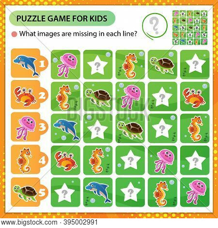 Sudoku Puzzle. What Images Are Missing In Each Line? Marine Life. Turtle, Jellyfish, Dolphin, Crab,