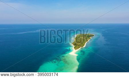 Aerial View Of Seascape With Beautiful Beach And Tropical Island Little Santa Cruz. Zamboanga, Minda