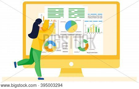 Woman Is Working And Analyzing Financial Statistics On The Background. Girl Employee Holding A Sign