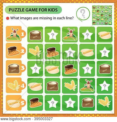 Sudoku Puzzle. What Images Are Missing In Each Line? Mill, Flour, Dough And Bread. Logic Puzzle For