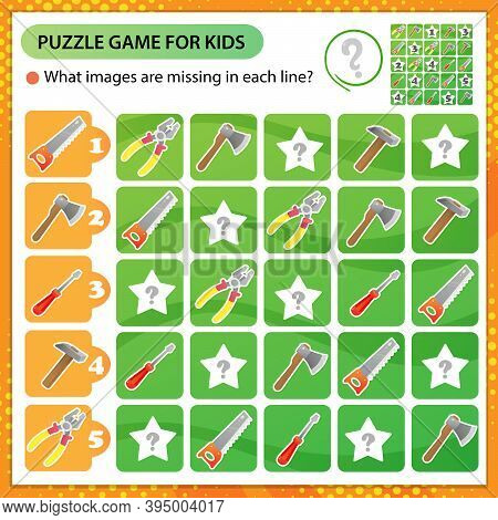 Sudoku Puzzle. What Images Are Missing In Each Line? Tools. Saw, Wrench, Pliers, Hammer, Axe, Screwd