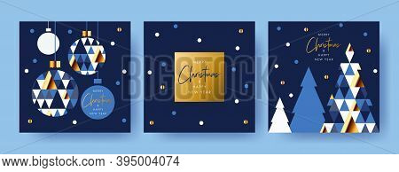 Merry Christmas And Happy New Year Set Of Greeting Cards, Posters, Holiday Covers. Modern Xmas Desig