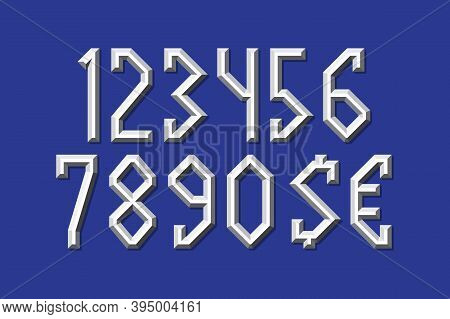 Volumetric Metallic Numbers And Currency Signs. Prismatic 3d Display Font.