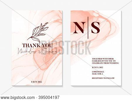Watercolor Wedding Invitation. Abstract Painting Shapes , Pink Rustic Boho Invitation Template, Flor