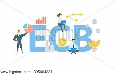Ecb, European Central Bank. Concept With Keywords, People And Icons. Flat Vector Illustration. Isola