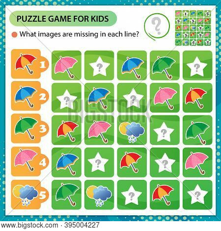 Sudoku Puzzle. What Images Are Missing In Each Line? Multicolored Umbrellas. Logic Puzzle For Kids.
