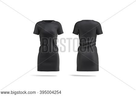 Blank Black Cloth Dress Mock Up, Front And Back View, 3d Rendering. Empty Long Basic Knitwear For Gi