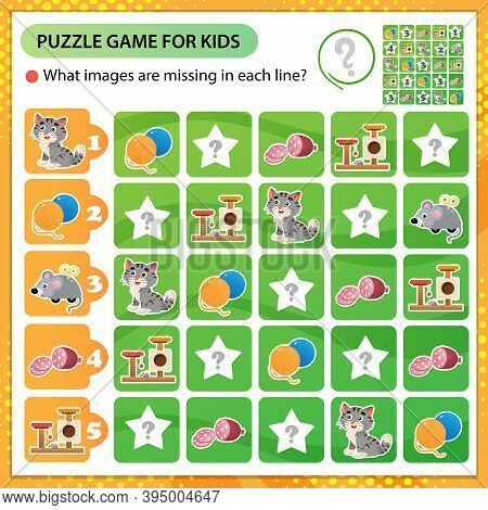 Sudoku Puzzle. What Images Are Missing In Each Line? Cat. Logic Puzzle For Kids. Education Game For