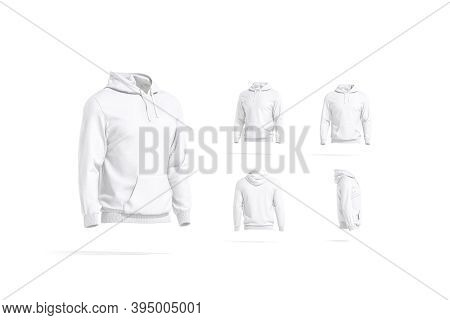 Blank White Sport Hoodie With Hood Mockup, Different Views, 3d Rendering. Empty Casual Sweat Shirt O