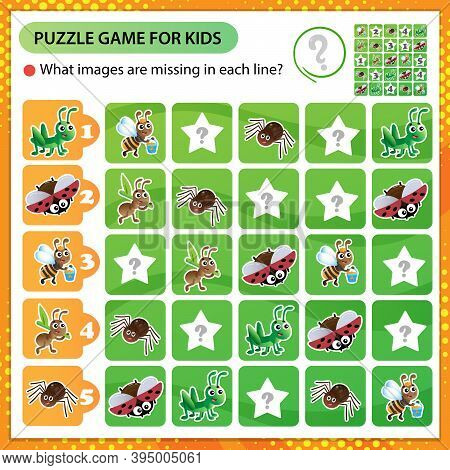 Sudoku Puzzle. What Images Are Missing In Each Line? Insects. Worker Ant, Grasshopper, Spider, Ladyb