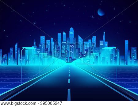 Neon Retro City Landscape In Blue Colors. Highway To Cyberpunk Futuristic Town. Sci-fi Background Ab