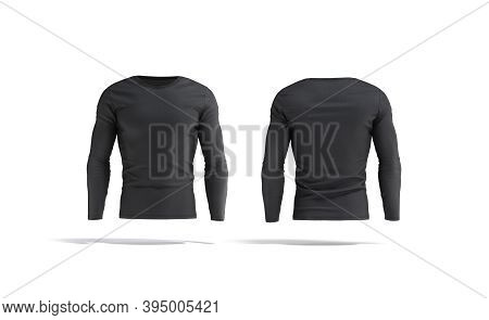 Blank Black Longsleeve T-shirt Mock Up, Front And Back View, 3d Rendering. Empty Fitness Outfit Clot