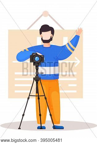 Guy Standing With The Camera And A Tripod. Cameraman Prepares Camera For A Photo Shoot. Photographer