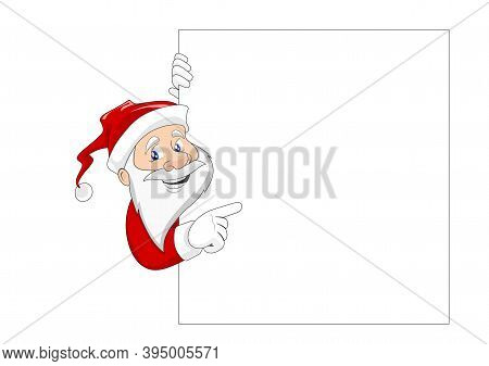 Smiling Santa Claus Showing On White Board With Empty Space For Messages. Santa Claus With Copy Spac