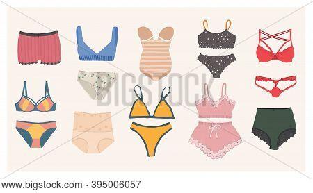A Set Of Womens Underwear - Bra, Panties, Corset, Bikini, Monokini. Types Of Lingerie And Swimwear.
