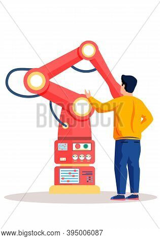 Male Scientist And Mechanical Arm Conducting Experiments. Artificial Intelligence Concept. The Guy E