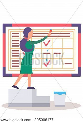 Female Worker Is Planning Time With Calendar Flat Vector Illustration. Time Management Metaphor. Gir