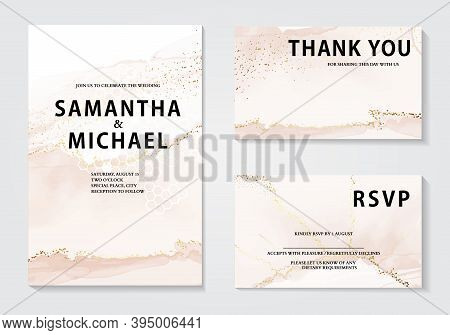 Watercolor Wedding Invitation Set, Elegant Gold Foil Rustic Design. Bridal Shower Template. Bohemian