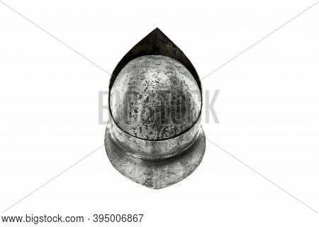 Back From Above View Of Ancient Iron Spartan Helmet Isolated On White Studio Background. Medieval Ar
