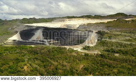Open Pit Limestone Quarry In The Mountains Of Bohol Island, Philippines. Limestone Quarry View From