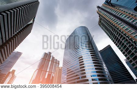 Common Modern Business Skyscrapers, High-rise Buildings, Architecture Raising To The Sky. Concepts O