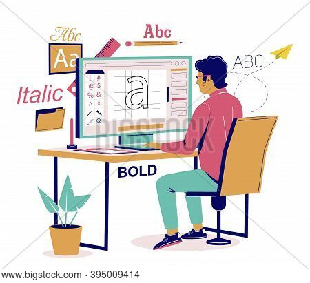 Graphic Designer Creating His Own Font, Vector Flat Isometric Illustration
