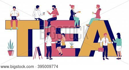 Tea Typography Banner Template, Flat Vector Illustration. Tea Shop, Teahouse.