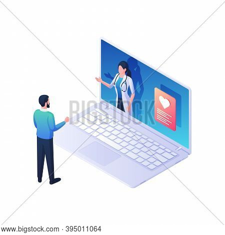 Medical Advice Online Isometric Vector Illustration. Female Character In White Coat With Laptop Scre