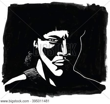 Illustration Of Brazilian Indigenous Man With Severe Looking In Shaded Atmosphere. Hand Drawn And Di