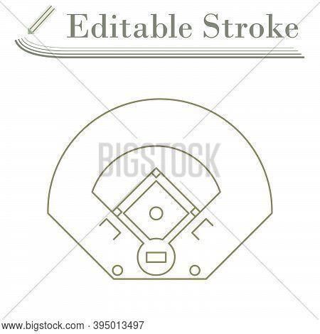 Baseball Field Aerial View Icon. Editable Stroke Simple Design. Vector Illustration.