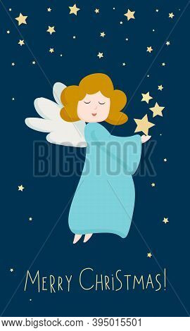 Christmas Cute Angel. Blue Angel Figure Isolated On Dark Blue Background. Portrait View Of Flying An