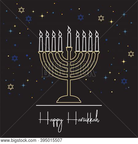 Happy Hanukkah Lettering Greeting Card. Festive Poster Print Typographical Inscription. Hanukkah Bac