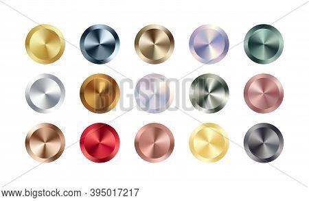 Metal Chrome Circle Badge Set. Vector Metallic Rose Gold, Bronze, Silver, Steel, Holographic Rainbow
