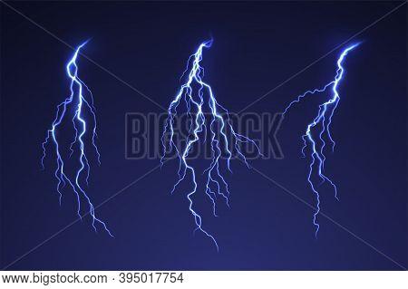 Lightning Thunderstorm On Dark Background. Blue Thunderbolt Flare. Blue Abstract Background Glow Lig