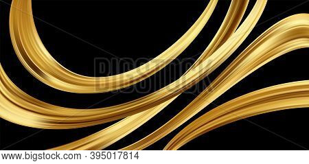 Gold 3d Wave On Black Background. Abstract Motion Modern Illustration. Luxury Golden Color Flow Back