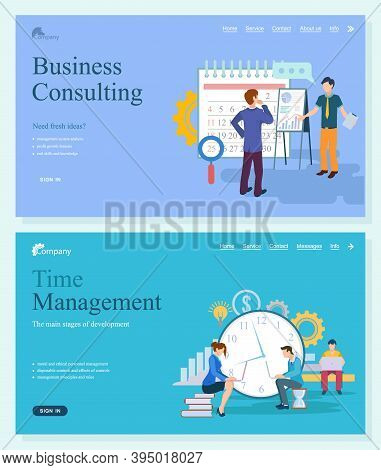 Business Consulting Of Fresh Ideas, System Analysis, Profit Growth And Knowledge. Time Management, M