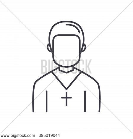 Church Pastor Icon, Linear Isolated Illustration, Thin Line Vector, Web Design Sign, Outline Concept