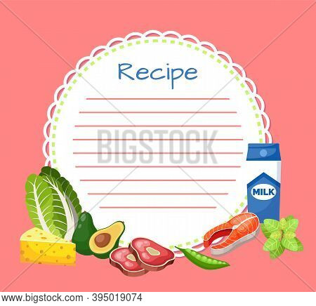 Banner, Sticker, Note For The Recipe. Making The Recipe For Cooking. Set Of Products For Cooking Dis