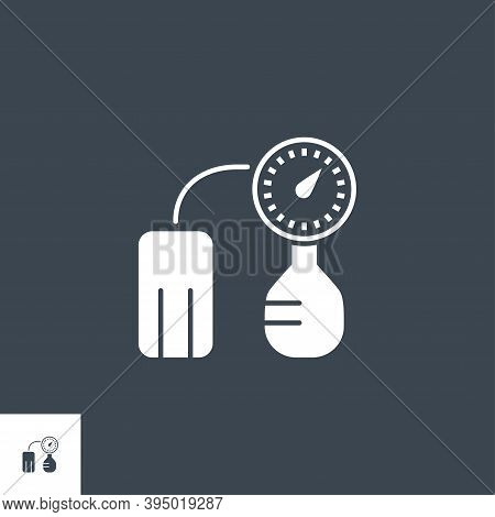 Tonometer Related Vector Glyph Icon. Isolated On Black Background. Vector Illustration.