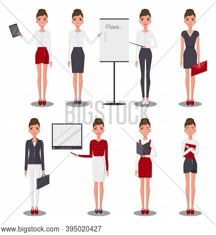 Set Of Young Beautiful Slim Businesswoman In Different Suits, Skirts, Dreesses. Confident Business G