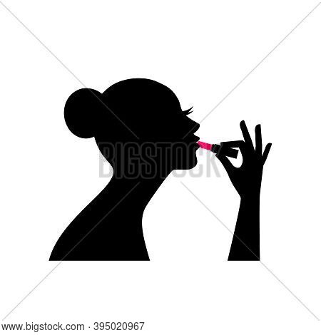 Silhouette Of Female With Lipstick. Romantic Model Doing Face Makeup, Vector Illustration Beautiful