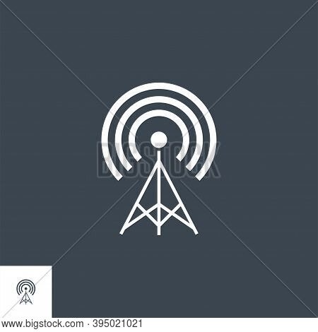 Transmiter Related Vector Glyph Icon. Isolated On Black Background. Vector Illustration.