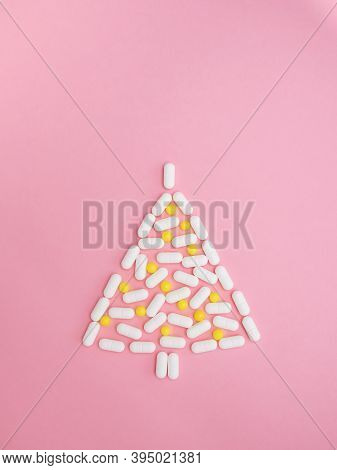 Medical Winter And New Year Concept. Creative Handmade Christmas Tree Made From Original Medicinal C