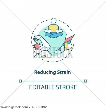 Reducing Strain Concept Icon. Muscle Pain Relief. Body Crump Treatment. Healthcare, Bodycare. Kinesi