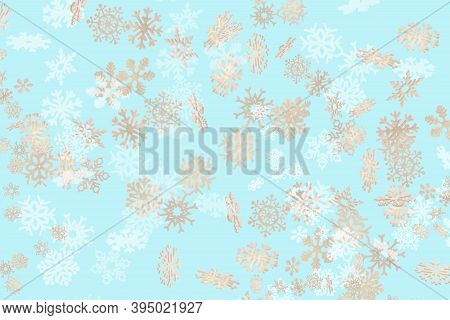 Beautiful Snowflake Pattern White And Gold Falling On A Sky Blue Background