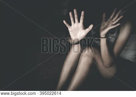 Victim Womenl Stress And Pain,  Kidnapped, Abused, Hostage,   Stop Violence Against Women And Traffi