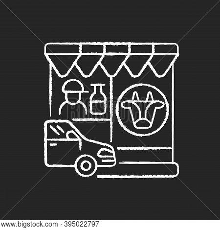 Drive Through Dairy Shop Chalk White Icon On Black Background. Milk Supermarket. Convenience Store F