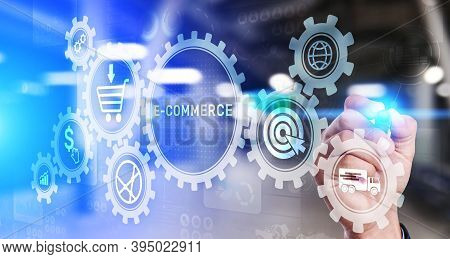 E-commerce Business Online Digital Internet Shopping Concept On Virtual Screen.